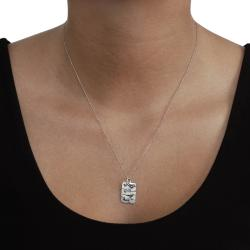 Journee Collection  Sterling Silver Rectangle Songbirds Necklace