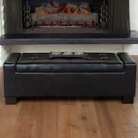 Guernsey Black Bonded Leather Storage Ottoman Bench by Christopher Knight Home