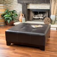 Darlington Espresso Bonded Leather Ottoman by Christopher Knight Home