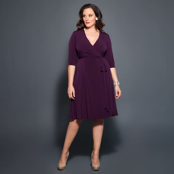 Kiyonna Women's Legacy Purple Size 5X Wrap Dress