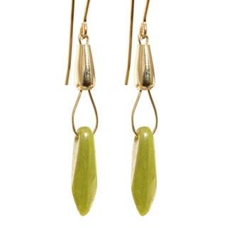14k Gold Fill 'Gorgeous Green Luster' Czech Glass Drop Earrings