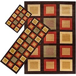 Set of 3 Brown Geometric Rugs (1'8 x 2'6/ 2'2 x 5'11/ 5'3 x 7'6)