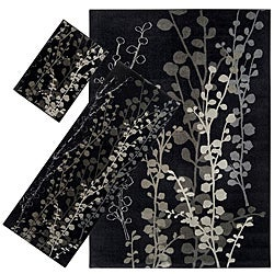 Set of 3 Black Floral Rugs (1'8 x 2'6/ 2'2 x 5'11/ 5'3 x 7'6)