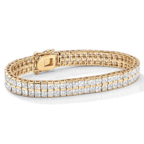 Gold Tone Double Row Tennis Bracelet (5.5mm), Princess Cut Cubic Zirconia, 7.25""