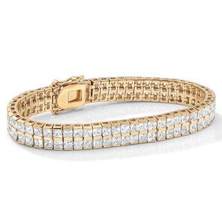 "6 TCW Princess-Cut Cubic Zirconia Double-Row Tennis Bracelet in Yellow Gold Tone 7 1/4"" Cl"