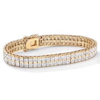 """Gold Tone Double Row Tennis Bracelet (5.5mm), Princess Cut Cubic Zirconia, 7.25"""""""