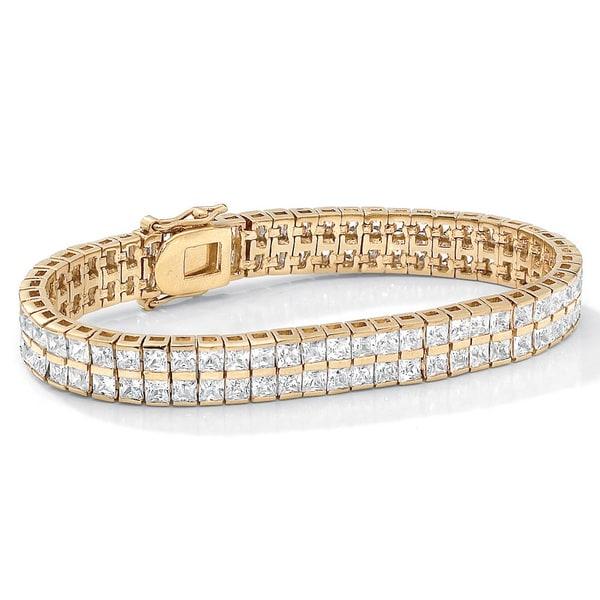 "PalmBeach 6 TCW Princess-Cut Cubic Zirconia Double-Row Tennis Bracelet in Yellow Gold Tone 7 1/4"" Classic CZ"
