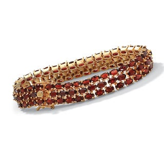 PalmBeach 27.50 TCW Oval-Cut Garnet Triple-Row Tennis Bracelet in 14k Yellow Gold over Sterling Silver 8 1/2""