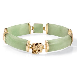 "Green Genuine Jade 14k Yellow Gold Macaroni-Link Bracelet 7 1/4"" Naturalist"