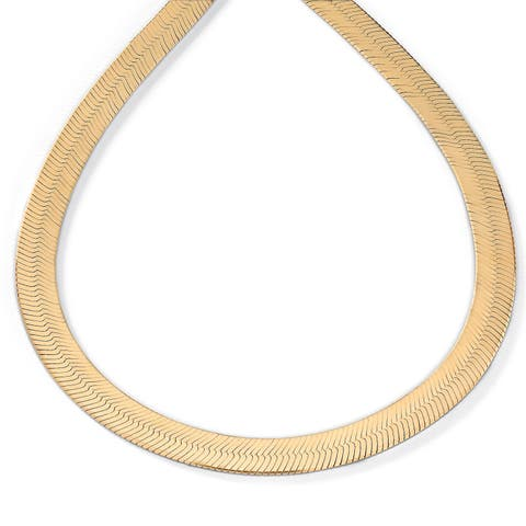 Herringbone Necklace in Sterling Silver with a Golden Finish Tailored - Yellow