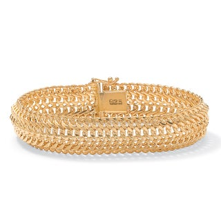 "PalmBeach Saduza-Link Bracelet in 18k Gold over Sterling Silver 7 1/4"" Tailored"
