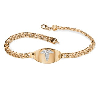 Men's Engraveable Medical Emergency I.D. Bracelet in 18k Gold over Sterling Silver