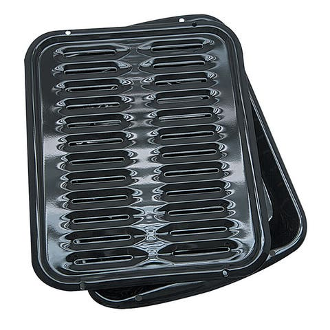 Range Kleen BP102X Porcelain Broiler Pan/Grill 13x16 inch - Black