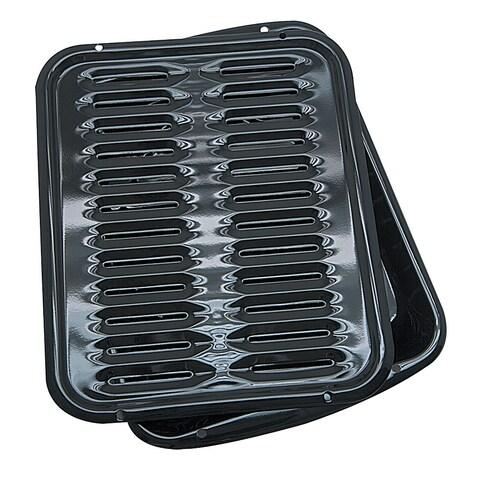 Range Kleen Black Porcelain/Metal Broiler Pan with Grill