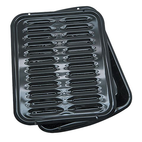 Range Kleen Black Porcelain/Metal Broiler Pan with Grill