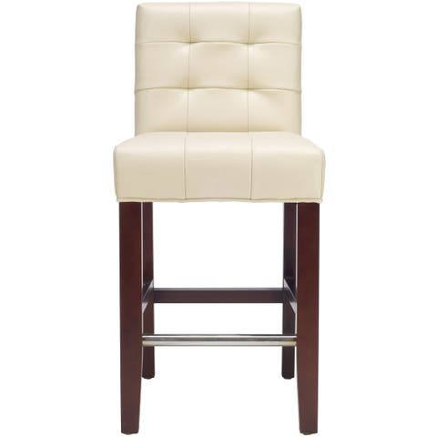 """Safavieh Noho Ivory Leather 26-inch Counter Stool - 16.7"""" x 20.1"""" x 34.4"""""""