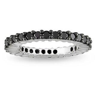 Miadora 18k White Gold 1ct TDW Black Diamond Eternity Ring