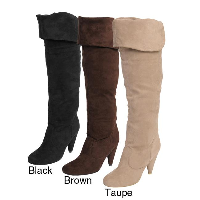 Journee Collection Women's 'Lila-1' Thigh High Microsuede Boots