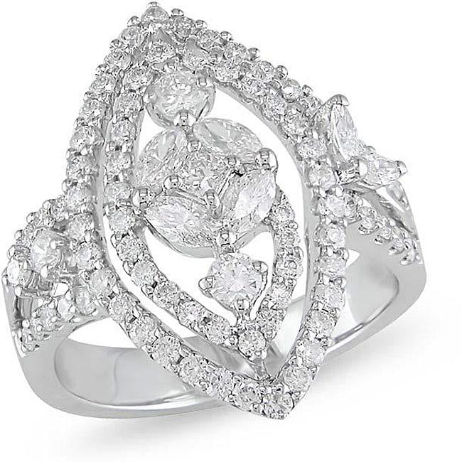 18k White Gold 1 3/8ct TDW Diamond Fashion Ring
