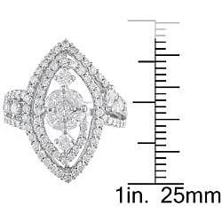18k White Gold 1 3/8ct TDW Diamond Fashion Ring - Thumbnail 2