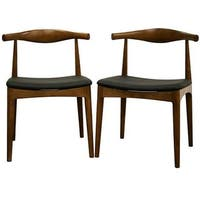 Mid-Century Black Faux Leather and Brown Wood Dining Chair 2-Piece Set by Baxton Studio