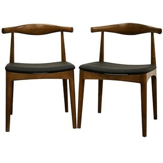 gg baxton studio 5 piece modern dining set 2. mid-century black faux leather and brown wood dining chair 2-piece set by gg baxton studio 5 piece modern 2