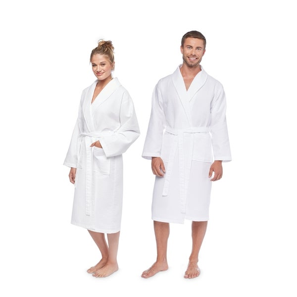 Authentic Hotel and Spa Turkish Cotton Unisex Waffle-Weave Bath Robe