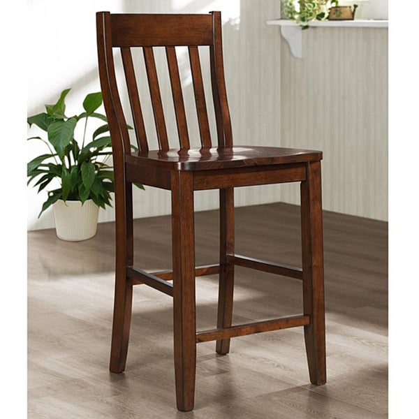 Roman Mahogany Slat Back 24 Inches Counter Height Stool