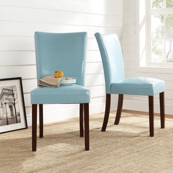 TRIBECCA HOME Estonia Sky Blue Upholstered Dining Chairs Set Of 2 Free Sh
