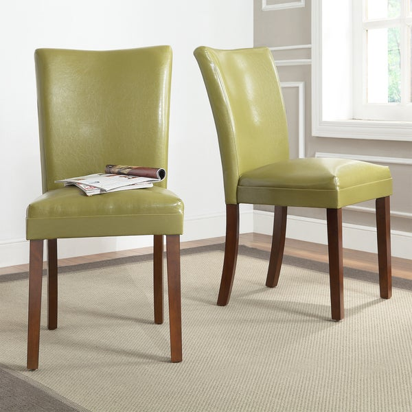 TRIBECCA HOME Estonia Olive Green Upholstered Dining Chairs (Set of 2)