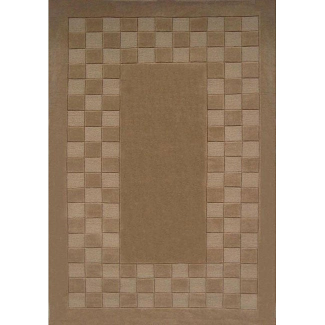 Hand-tufted Trendy Tan Wool Rug (5' x 8')