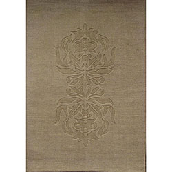 Hand-tufted Carving Tan Wool Rug (8' x 11') - Thumbnail 0