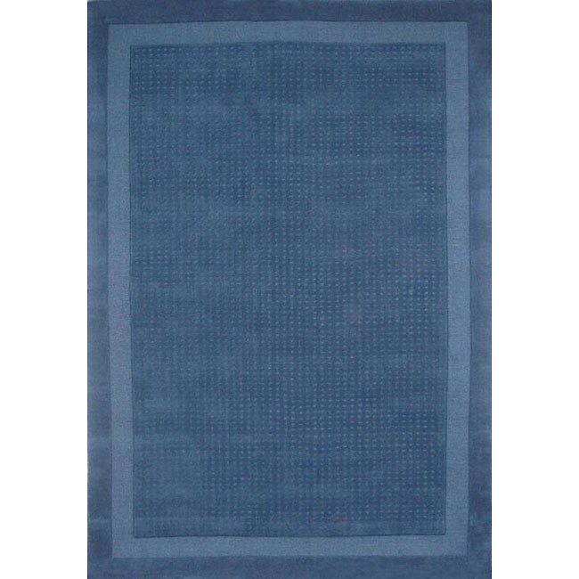 Hand-tufted Blue Dot Wool Rug (5' x 8')