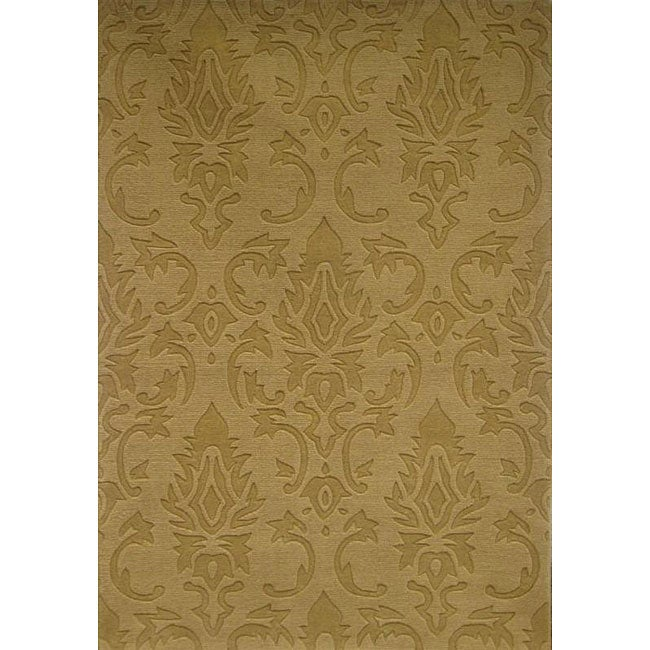 Hand-tufted Damask Gold Wool Rug (5' x 8')
