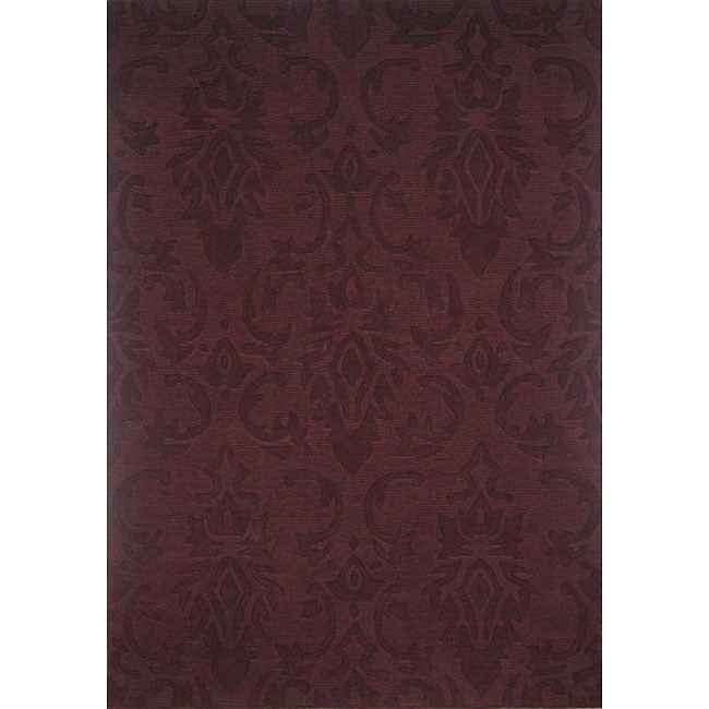 Hand Tufted Damask Wine Wool Rug 5 X 8 Free Shipping