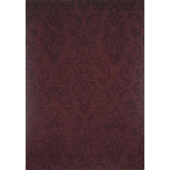 Hand-tufted Damask Wine Wool Rug (5' x 8')