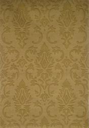 Hand-tufted Damask Gold Wool Rug (8' x 11') - Thumbnail 2