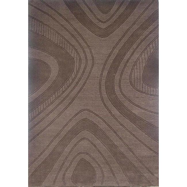 Hand-tufted Geoma Chocolate Wool Rug (8' x 11') - 8' x 11'