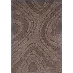 Hand-tufted Geoma Chocolate Wool Rug (8' x 11')