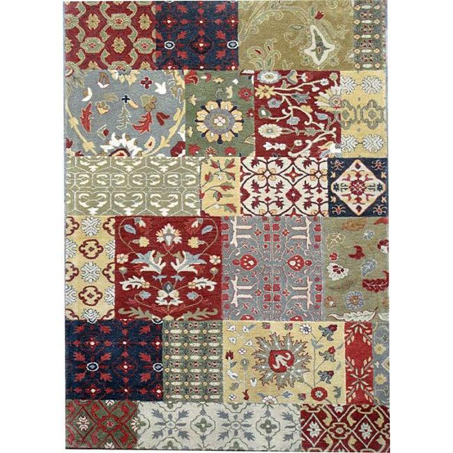Hand-tufted Motif Oriental Wool Rug - 5' x 8'
