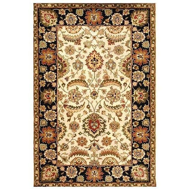 Hand-tufted Ivory/ Black Oriental Wool Rug (9' x 13')