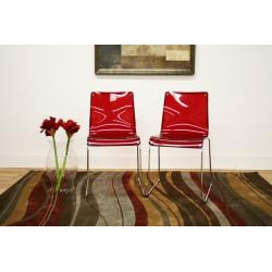 Baxton Studio Lino Transparent Red Acrylic Dining Chairs (Set of 2) - Thumbnail 1