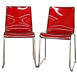 Baxton Studio Lino Transparent Red Acrylic Dining Chairs Set Of 2 On Sale Overstock 5173771