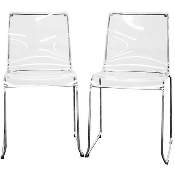 Porch & Den Tallulah Transparent Clear Acrylic Dining Chairs (Set of 2)