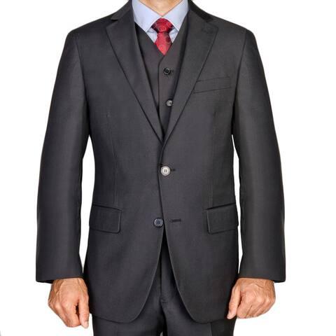 Men's Black Viscose 3-piece Suit