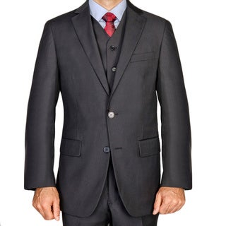 Men's Black Viscose 3-piece Suit