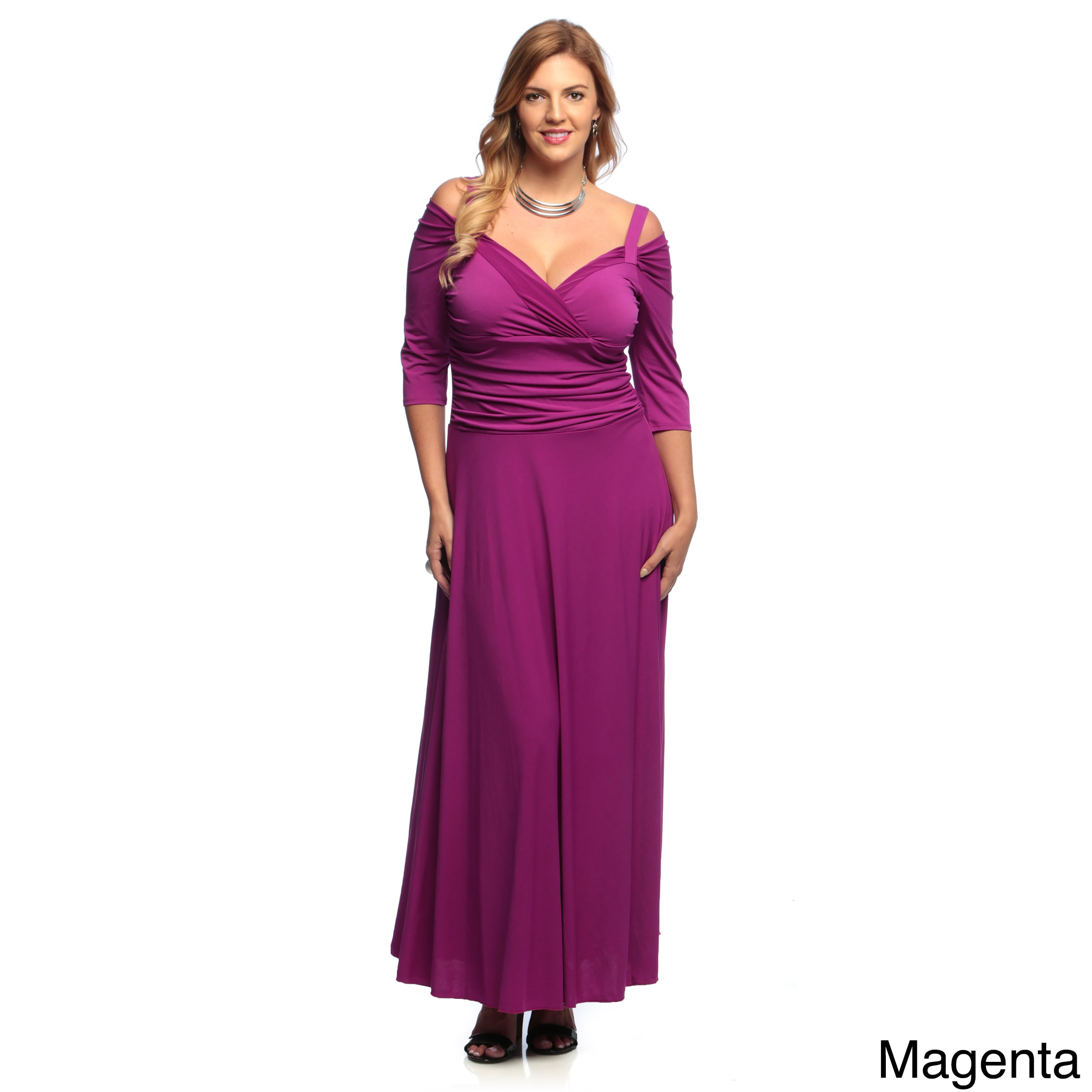 Evanese Women's Plus Size 3/4-sleeve Long Dress (4x - Mag...