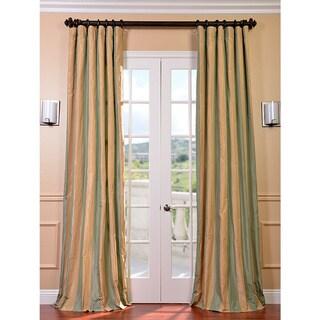 Exclusive Fabrics Signature Stripe Beige/ Sea Foam Green Faux Silk Taffeta 96-inch Curtain Panel