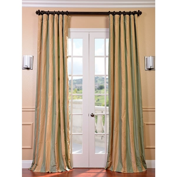 Exclusive Fabrics Signature Stripe Beige/ Sea Foam Green Faux Silk Taffeta Curtain Panel