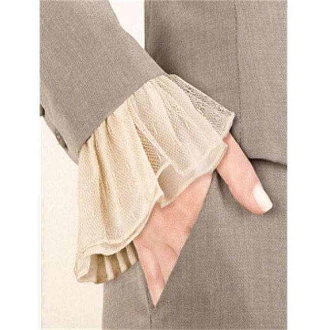 Ivory Lace Elasticized Polyester-chiffon Couture Cuff